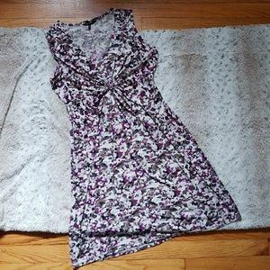 5/$25 Daisy Fuentes Dress Ivory Purple Size Small